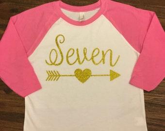 Seventh Birthday, Seven, Arrow Birtgday Shirt, Happy Seventh Birthday, Birthday Shirt