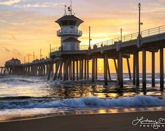 "Huntington Beach Print | ""Classic Sunset"" | Beach Wall Art | Beach Photo - Beach Home Decor - Beach Picture - Huntington Beach Sunset Print"