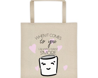 S'more of You Cotton Canvas Tote Bag | Marshmallow Tote Bag | Candy Tote Bag | Cartoon Tote Bag | Foodie Tote Bag | Mallow Bag | Grocery Bag
