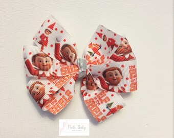 Elf on a shelf bow, elf, elf on a shelf, christmas, holiday, pinwheel bow, christmas bow, holiday bow, toddler bow, festive bow, baby bow