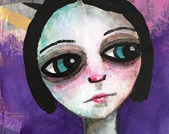 Purple Sad Girl ACEO Original Mixed Media Collectible Art Card