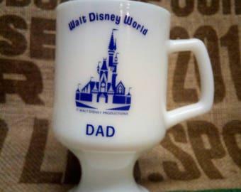 DAD Walt Disney World Footed Milk Glass Cup