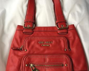 Retro Leather Nine West Bag / Faux Leather Vintage Purse / Vintage Purses / 70's Red Handbag / Designer Bag / Burnt Orange Designer Purse