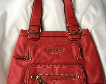 Red Handbag, Nine West Purse, Accessories, Retro Purse, Vintage Purse, Red Handbag, Faux Leather Bag, Designer Bag, Designer Purse