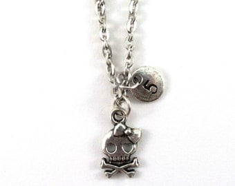 FUNNY SKULL charm necklace, personalized charm necklace, initial necklace, , personalized jewelry, charm neckalce, initial jewelry, monogram