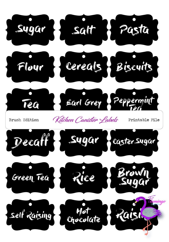 kitchen labels brush font black u0026 white printable kitchen