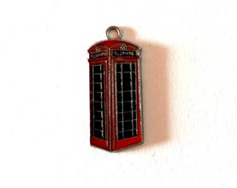 5 Telephone booth charm / bulk red telephone box charm / london telephone charm / phone booth charms / red booth charm / england phone booth