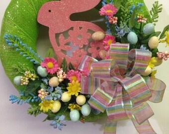 Easter Spring Wreath, Easter Bunny wreath