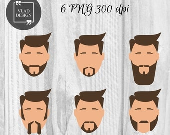 6 Men Faces Clipart Hipsters Clipart Digital Face Elements Men's face graphics People clipart Face clipart Beard clipart