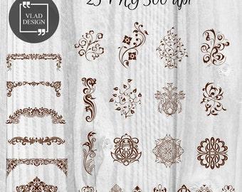 25 Vintage Design Clipart Digital Edging Elements Frieze graphics Retro clipart Floral badges Gothic pins Art Nouveau elements