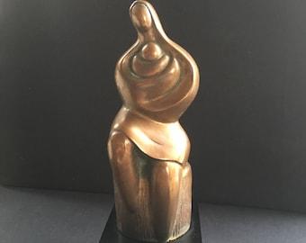 Vintage bronze sculpture Mother and Child modern lines