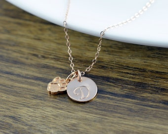 Dog Paw Necklace, Dog Paw Jewelry, Dog Mom Gift, Personalized Initial Necklace, Personalized Rose Gold Necklace, Dog Paw Charm, Gift for Her