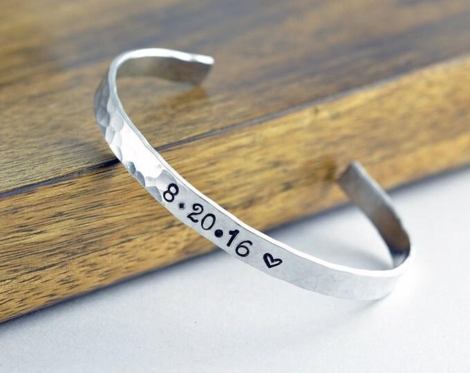 Custom Bracelet - Date Bracelet - Silver Cuff Bracelet - Cuff Bracelet - Personalized Cuff - Engraved Cuff Bracelet, Personalized Jewelry