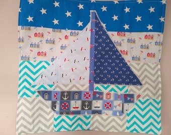 Nautical seaside sailing boat wall hanging picture accessories for nursery or any seaside themed room