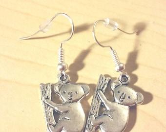 One pair of Koala Bear silver earrings