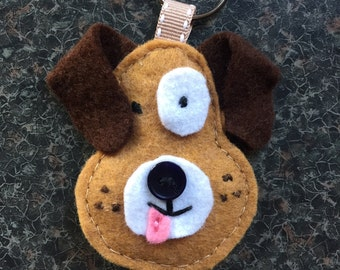 Dog Keyring, Brown, White, Pink, Felt, Bag Charm, Keychain