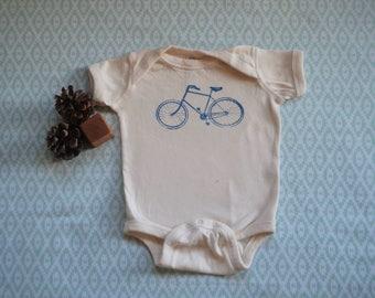 Baby Bicycle Onesie-Natural: 9-12 months