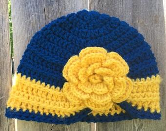 Crochet hat; girl's hat; child's hat; turban hat; crochet turban; trunan with flower