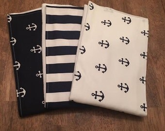 Set of 3 - Nautical Burp Cloths