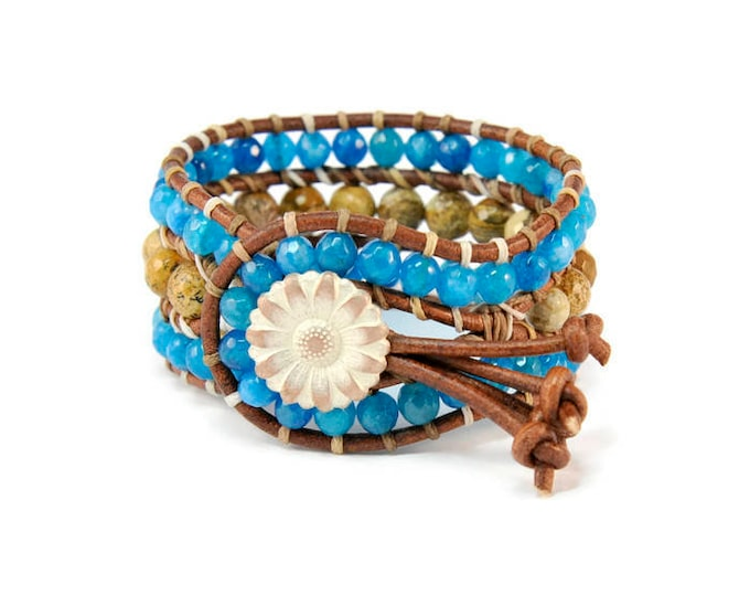 Boho Eagle * Jade & Jasper. 3 strand Wrap Bracelet. Boho Style. Bohemian Jewelry. Semiprecious stones. Gift for her. Cuff Bracelet.