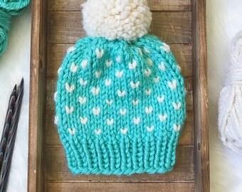 Aqua Chunky Knit Hat | Fair Isle Knit Hat | Winter Hat | Slouchy Hat | Blue Knit Hat | Chunky Knit Slouchy Hat | Chunky Knit Hat