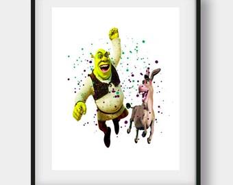 Shrek Art Print, Shrek And Donkey, Nursery Wall Art, Printable Shrek, Nursery Decor Boy, Shrek Wall Art, Shrek Art, Shrek Print, Kids Print