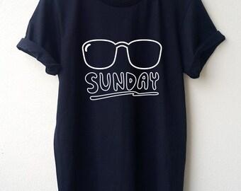 Sunglass Sunday T-Shirt Cartoon Unisex shirt Minimal Style Size S M L Tumblr Pinterest