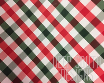 Plaid Vinyl, Christmas Print Vinyl, Adhesive Vinyl, Plaid Christmas Vinyl, Permanent Vinyl, Colorful Vinyl, Oracal 651, 12 X 12