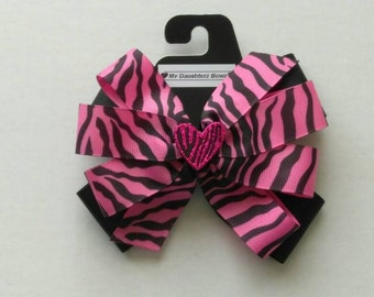 SALE*** Pink zebra print hair bow, animal print hair bow