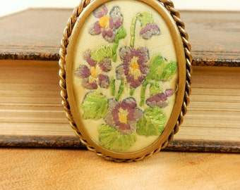 Vintage Floral Embriodered Brooch, Purple Flowers, Vintage Brooch, Vintage Scarf Pin