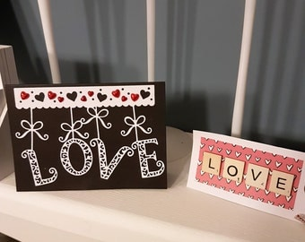 LOVE - Card & Gift Tag Set - Valentines Card Anniversary Card