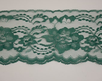 """Green Lace Trim Ribbon 4"""" inch wide,  Wedding Lace Invitations, Green Floral Lace Sewing, green lace ribbon, Hunter Green Lace"""