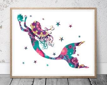 Mermaid Art Print, Nursery Mermaid Silhouette, Under the Sea Mermaid Decoration for Girls Room, Nursery Art, Kid Wall Art, Baby Shower Gift