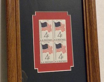 American Flag Stamp set, Framed stamps, American Flag art, block of four vintage stamps, patriotic gift