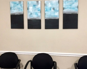 "Original Teal Abstract Acrylic Painting 4- 12x24"" panels"
