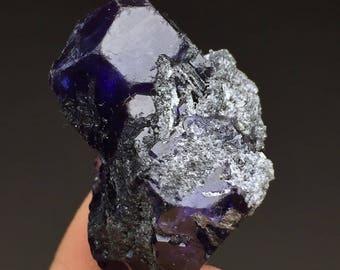 56.5CT Gem Grade Rare Translucent Trapezoidal Deep Purple Phantom Fluorite FL002