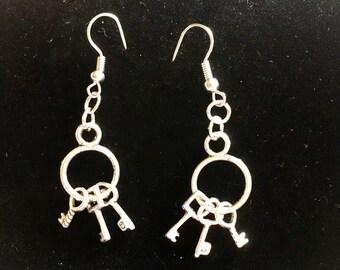 Vintage key ring charm earrings