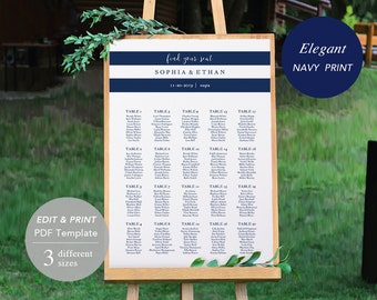Wedding Seating Chart Template, Seating Chart Printable, Seating Board, Printable PDF, DIY, Instant Download, Navy Stripe, Elegant Nautical