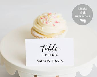 Wedding Place Card Printable, Place Card Template, Meal Choice Selection, Table Number Name Card Seating Card Instant Download PDF #SPP023pc