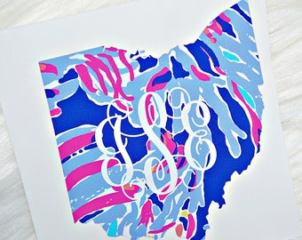 State Monogram Vinyl Decal - Available in ANY State - Available with or without monogram