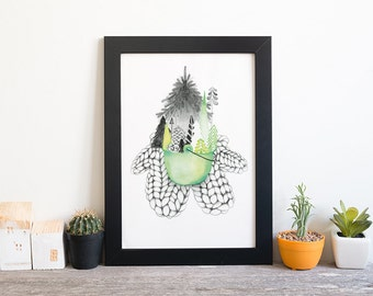Poster forest mitten   Winter picture 5 x 7   Watercolor illustration   drawing forest   illustration mitten   Drawing pencil knitting