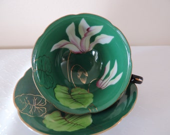English-Princess Cup-Saucer-porcelain China - painted hand-Lily-green low... WAS 45.00