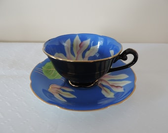 Cup-Saucer-porcelain English-Princess China - painted hand-lilies-blue - reduced