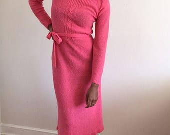 Flamingo Pink Textured Knit Sweater Dress / Boat Neck Midi Knitted Dress