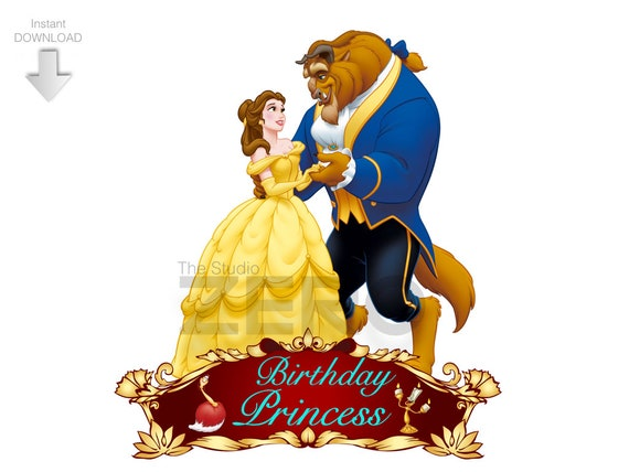 Disney Beauty And The Beast Clipart Digital Birthday Personalize Printable Iron On Transfer Or Use As Clip Art DIY Shirt