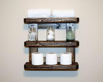 Rustic Wood Wall Shelves Rack - Bathroom Kitchen Entryway Foyer