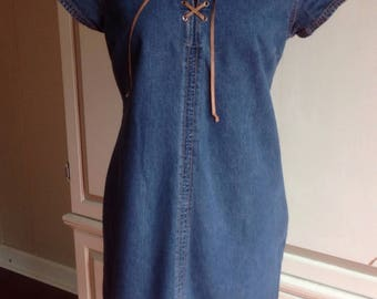 Fading Glory Denim Dress 1980's size .