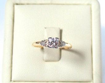 ANTIQUE Two Tone  White/Gold Yellow European Cut DIAMOND Ring