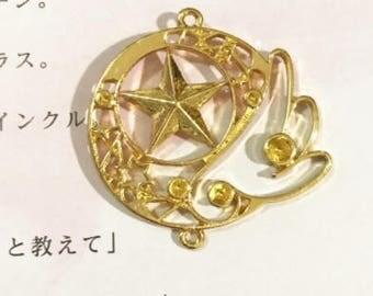 Cardcaptor Sakura Open Bezel,Sakura Kinomoto wing,open bezel,resin bezel,open back bezel,resin charm,wing charm,gold charm,gold open bezel