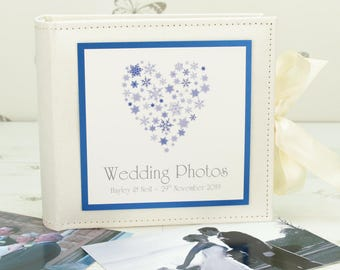 Personalised Snowflake Heart Wedding Photo Album